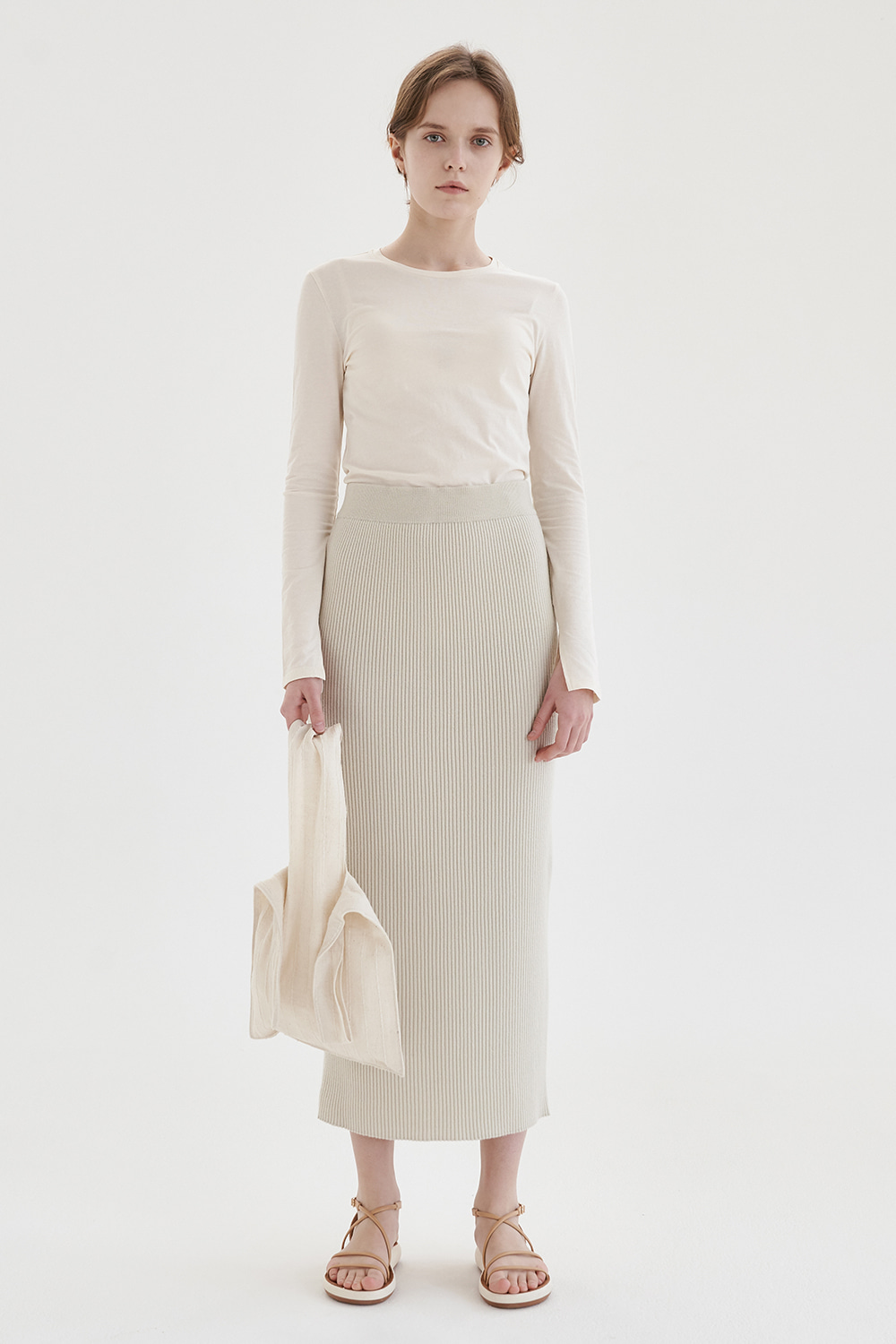 wool 100% knit long skirt