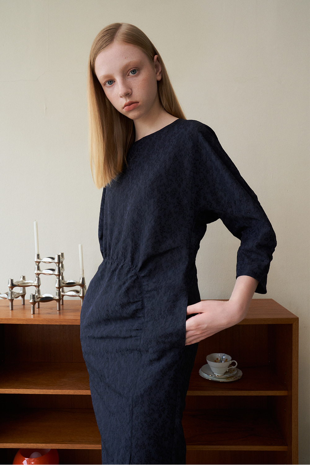 [Navy]jacquard  shirring Dress