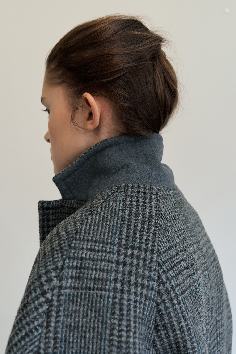[Grey]single breasted wool coat